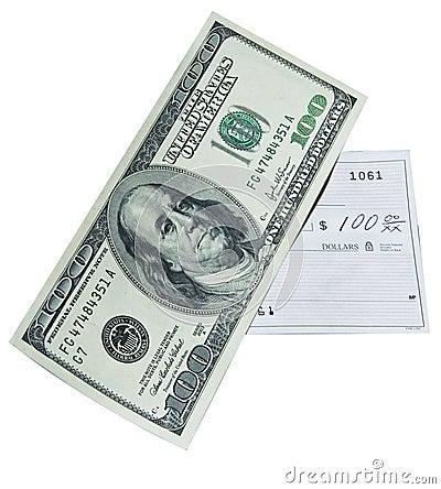 Free 100 Dollar Bill And Bank Check Stock Photo - 10333270