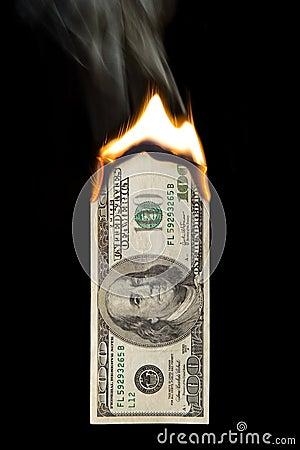 100 Dollar Bill On Fire