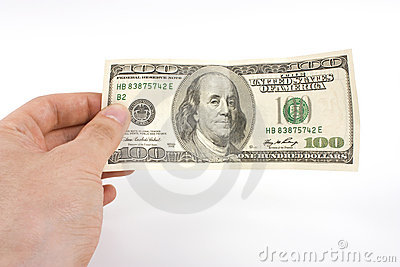 Hand with 100 dollar bill banknote