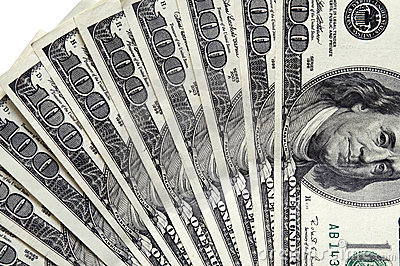 100 dollar bills close up