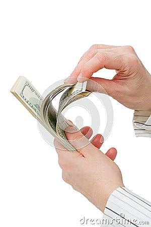 $100 dollar bills counted