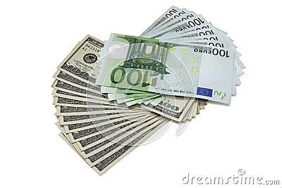 100 dollar and euro banknotes
