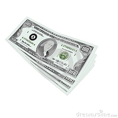100 dollars notes isolated