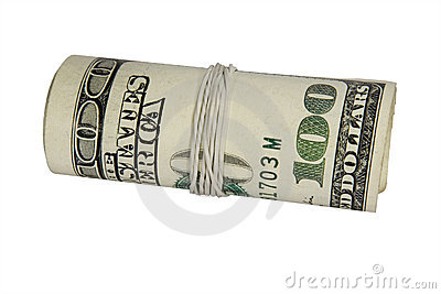100 dollars roll isolated on white