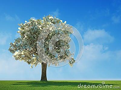100 dollarsrekeningen die op een boom groeien