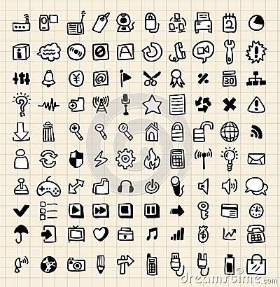 100 doodle ikony sieć