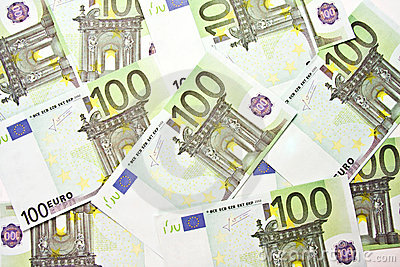 100 EURO bills background