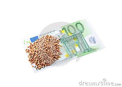 100 Euro and buckwheat groats