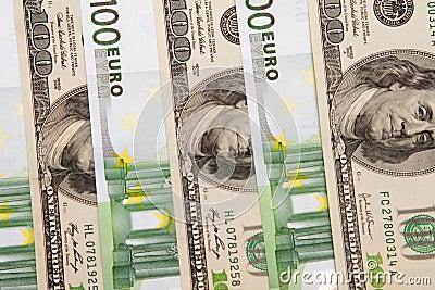 100 euro an dollar banknotes