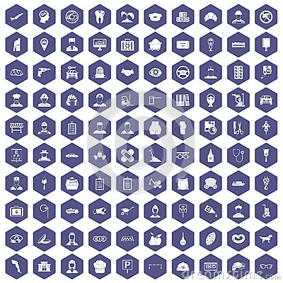 Free 100 Favorite Work Icons Hexagon Purple Stock Photography - 97639532