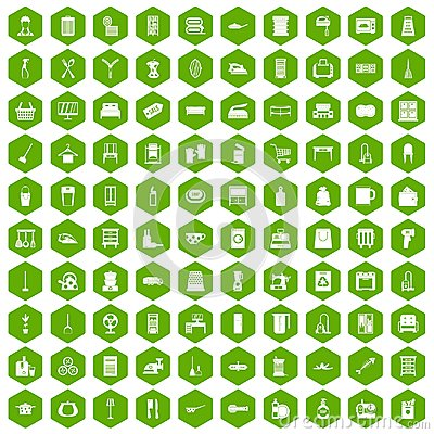 Free 100 Housework Icons Hexagon Green Royalty Free Stock Images - 97526249