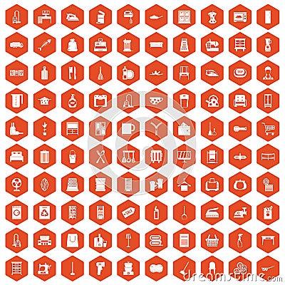 Free 100 Housework Icons Hexagon Orange Stock Images - 97769504