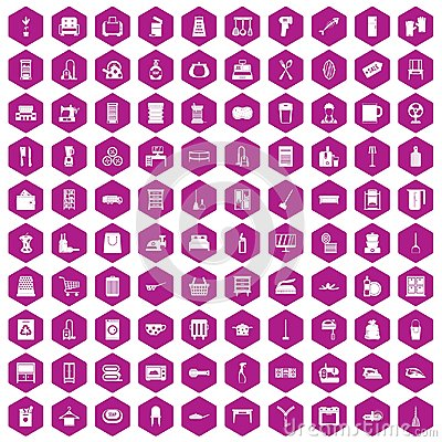 Free 100 Housework Icons Hexagon Violet Royalty Free Stock Photography - 98051677