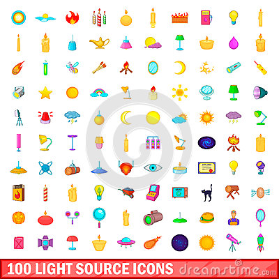 Free 100 Light Source Icons Set, Cartoon Style Royalty Free Stock Image - 93363586