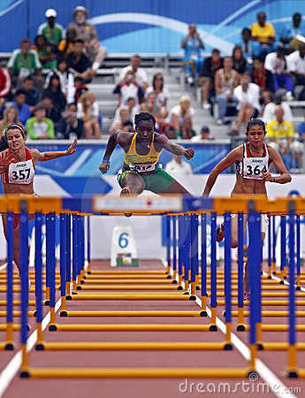 Free 100 Metres Womens Hurdles Jamaica Hungary Tunesia Royalty Free Stock Photo - 15240505