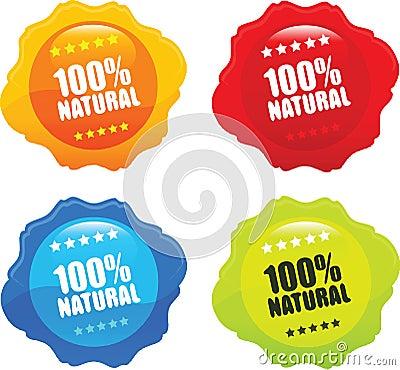 100  Natural Organic Stamp Vector