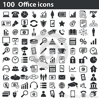 Free 100 Office Icons Set Royalty Free Stock Photos - 58287358