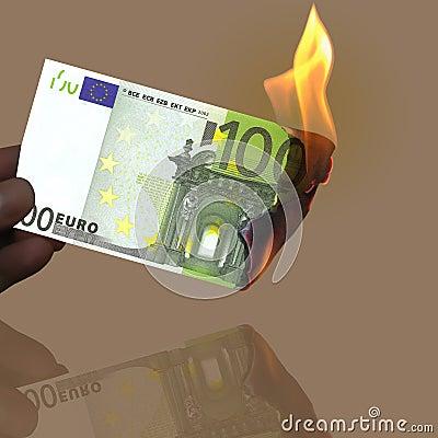 100 płonący euro