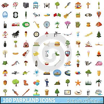 Free 100 Parkland Icons Set, Cartoon Style Royalty Free Stock Photos - 94526628