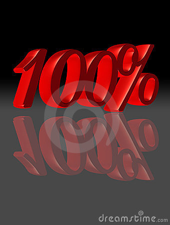 100 percent in black and red, reflected