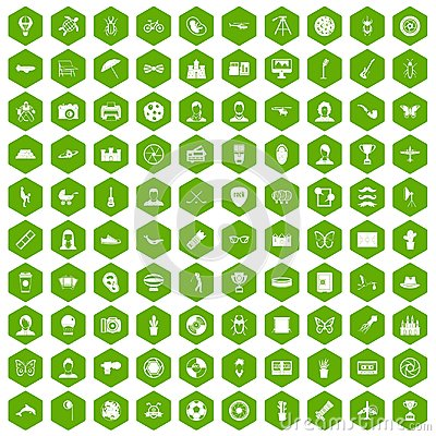 Free 100 Photo Icons Hexagon Green Royalty Free Stock Image - 97556916