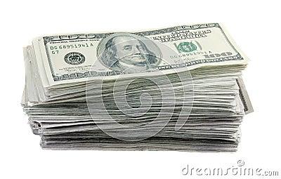 100 rachunków dolarowa sterta