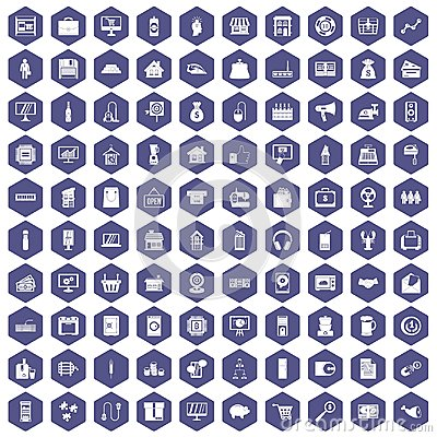 Free 100 Sales Icons Hexagon Purple Royalty Free Stock Images - 97710139