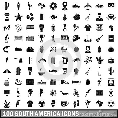 Free 100 South America Icons Set, Simple Style Stock Photo - 90631910