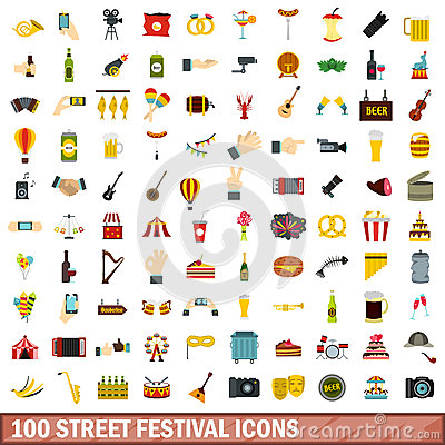 Free 100 Street Festival Icons Set, Flat Style Stock Photo - 93276810