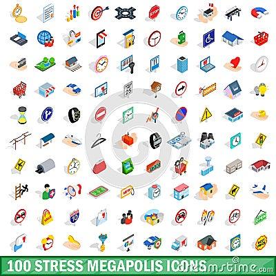 Free 100 Stress Megapolis Icons Set, Isometric 3d Style Stock Image - 89076291