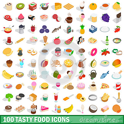 Free 100 Tasty Food Icons Set, Isometric 3d Style Royalty Free Stock Photography - 88254007