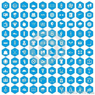 Free 100 Tennis Icons Set Blue Stock Photos - 121298443