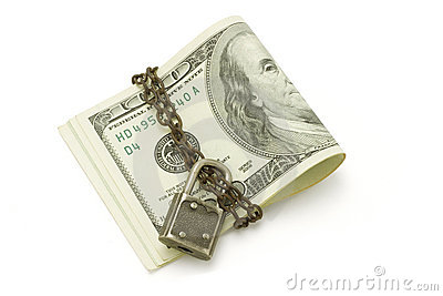 100 US dollars bills - safe and secured