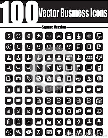 Free 100 Vector Business Icons - Square Version Stock Image - 29809781