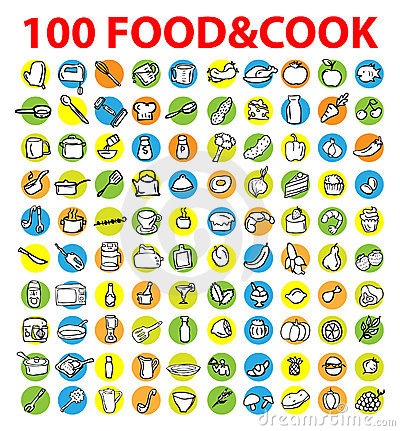 100 vector food & cook icons