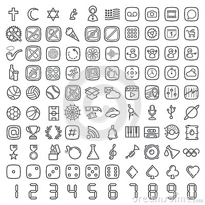 Free 100 Vector Line Icons Set Royalty Free Stock Photos - 45462008