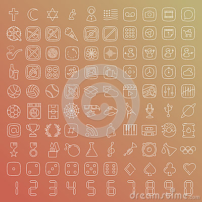 Free 100 Vector Line Icons Set Stock Image - 45558201