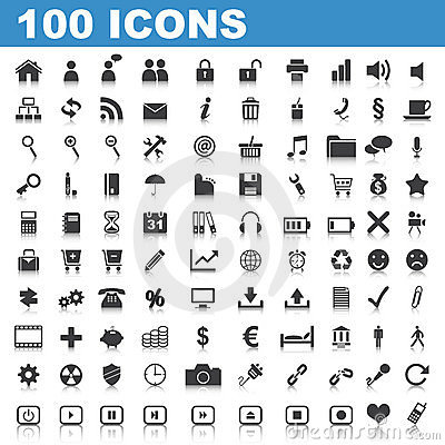 Free 100 Web Icons Stock Photo - 19114240