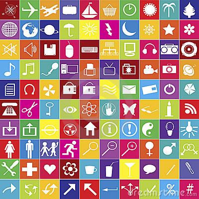 100 web icons in bright colors