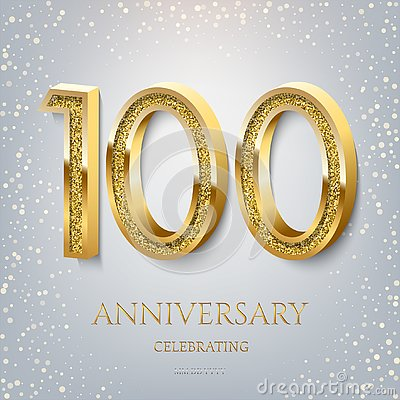 Free 100th Anniversary Celebrating Golden Text And Confetti On Light Blue Background. Vector Celebration 100 Anniversary Royalty Free Stock Photography - 144939967