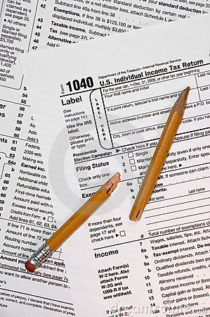 1040 Federal Tax Form, Broken Pencil on Forms