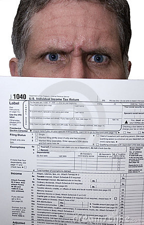 1040 Tax Form Angry Man Hold Forms, Doing Taxes