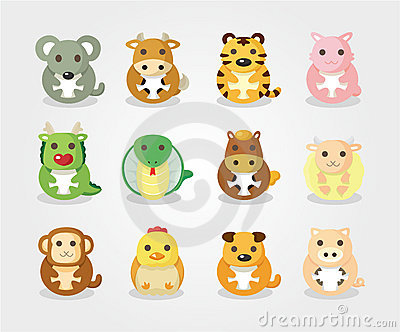 12 animal icon set,Chinese Zodiac animal