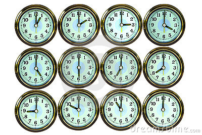 12 Color Gold Time Clocks , Stock Photos - Image: 15724293