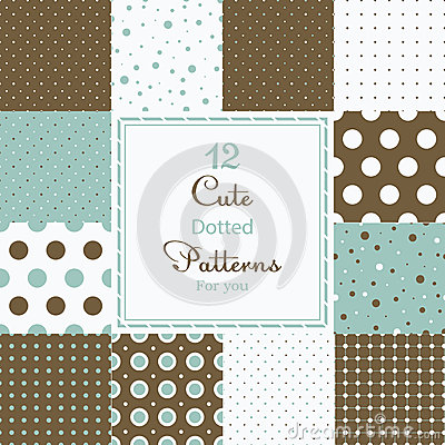 Free 12 Cute Different Dotted Vector Seamless Patterns (tiling). Royalty Free Stock Photos - 36575358