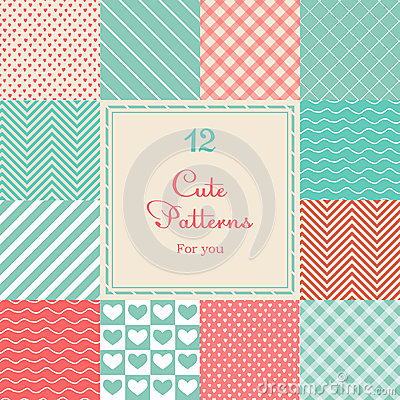 Free 12 Cute Different Vector Seamless Patterns (tiling Stock Photo - 35146290