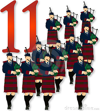 Free 12 Days Of Christmas: 11 Pipers Piping Stock Image - 397061