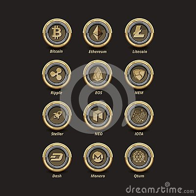 Free 12 Golden Virtual Money Coins Stock Photo - 108271070
