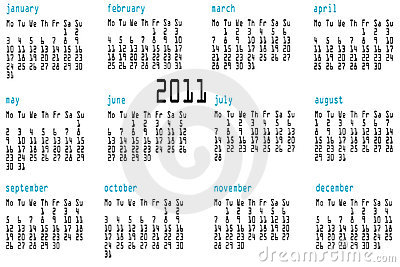 12 month calendar for 2011