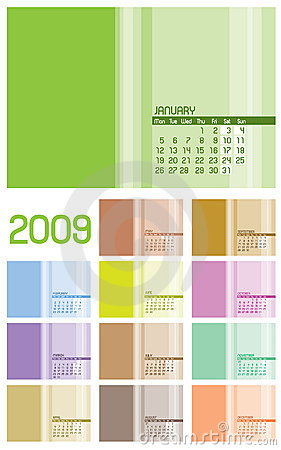 12 pages Calendar 2009 - 12 months
